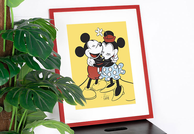 Mickey and Minnie Mouse Framed Poster
