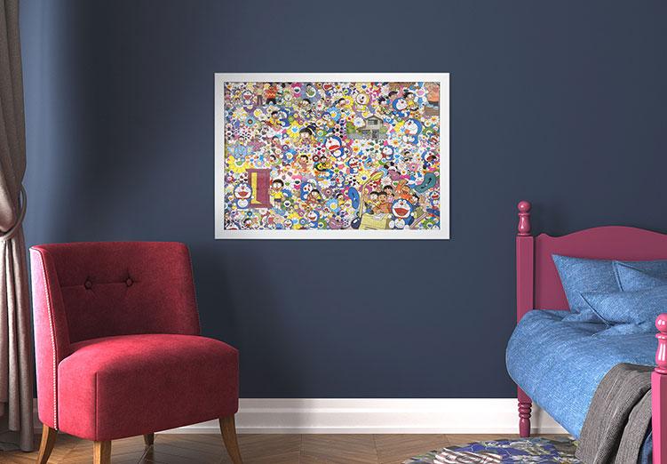 Framed Murakami Jigsaw Puzzle on Bedroom Wall